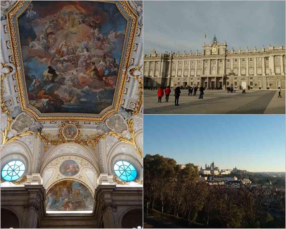 Foto: A esquerda, uma parte do interior do Palácio Real Madrid, da direita (acima) o exterior do Palácio e (abaixo) a vista do Palácio Real de Madrid e da Catedral em meio à cidade.