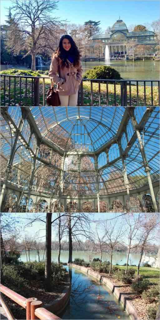 Foto: Acima o Palácio de Cristal. No meio o Interior do Palácio de Cristal. Abaixo, um dos belos caminhos do Parque.