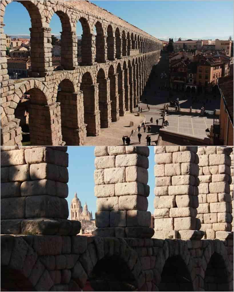 Detalhe dos blocos de granito do Aqueduto. Na foto abaixo, ao fundo, a Catedral de Segóvia. Fotos: Arquivo Pessoal/Divulgação.