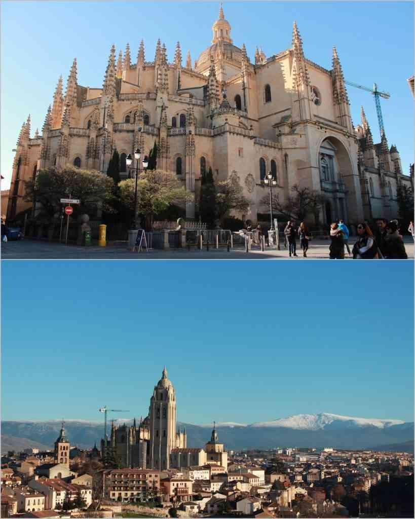 Na foto de baixo, a grandiosa Catedral destaca-se na paisagem da cidade de Segóvia. Fotos: Arquivo Pessoal/Divulgação.