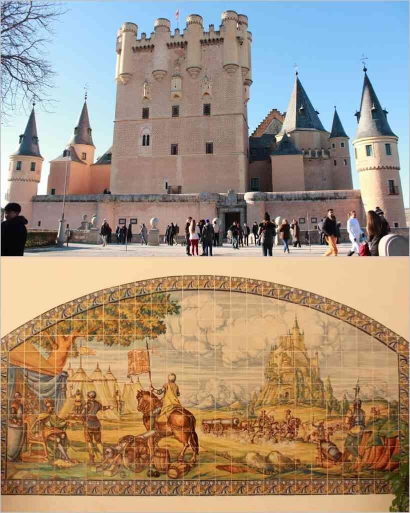 Na foto de cima temos a entrada do Castelo, que é realizada por trás da construção. Sua frente fica na ponta do penhasco, voltada para os vales da cidade. Na foto de baixo vemos essa pintura em azulejos e percebemos a imponência do castelo visto de longe. Fotos: Arquivo Pessoal/Divulgação.