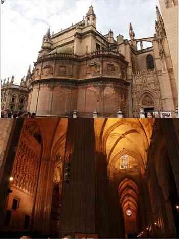 Exterior e interior da Catedral. Foto: Aquivo Pessoal / Divulgação.