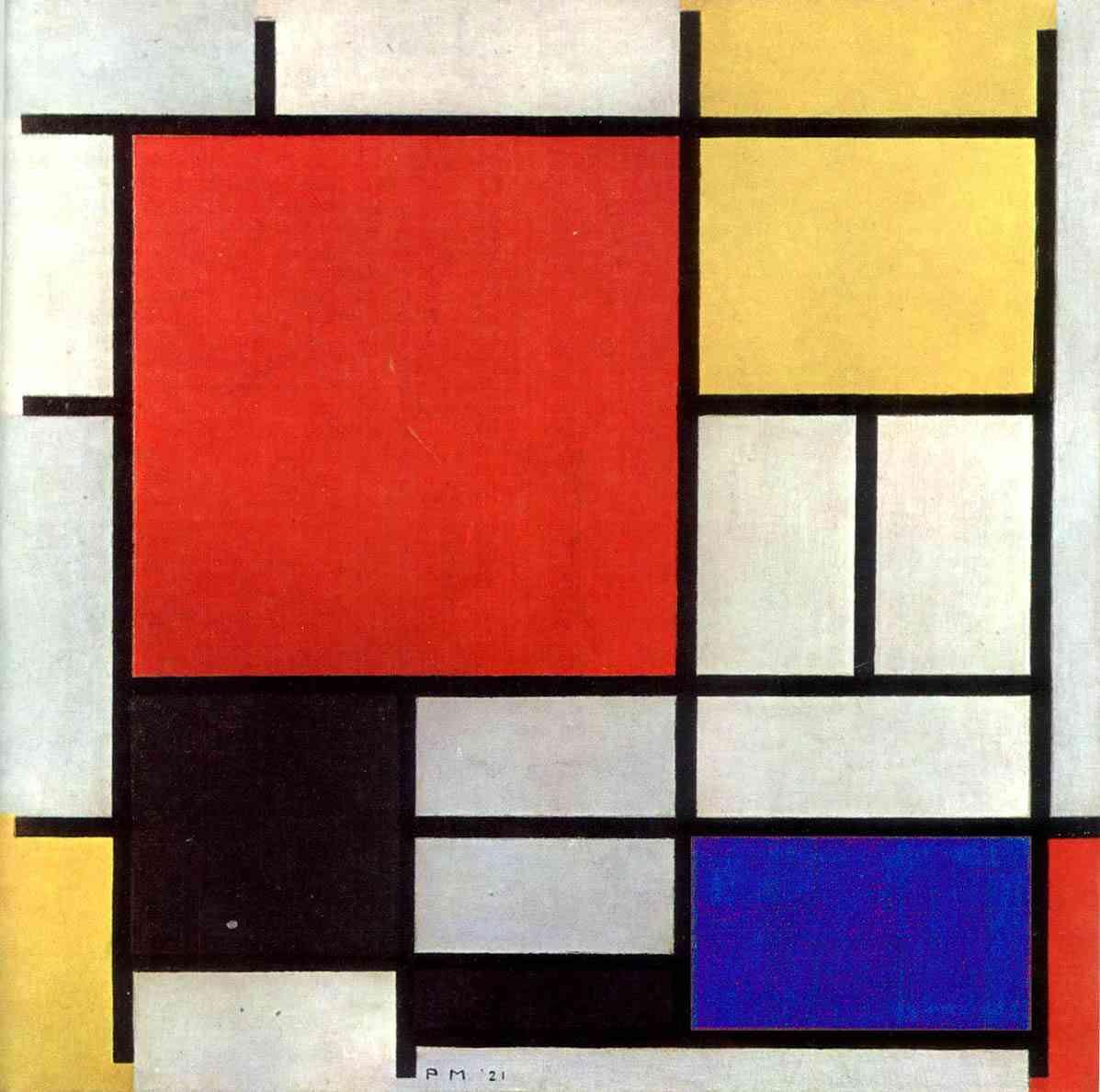 Composição com vermelho, amarelo, azul e preto. Quadro de Piet Mondrian – 1921. Fonte: Infoescola