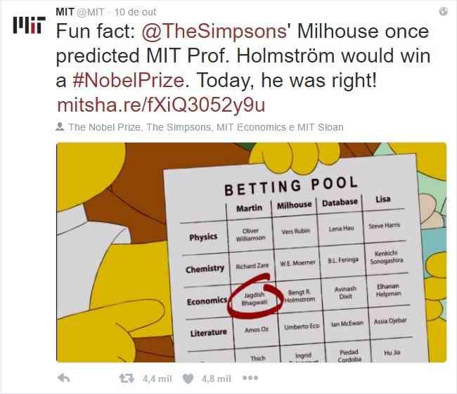 """""""curiosidade, Milhouse, de 'Os Simpsons', uma vez previu que o professor Holmstrom venceria o Prêmio Nobel. Hoje ele acertou"""", twittou a página oficial do MIT. (Foto: Reprodução/Twitter)"""