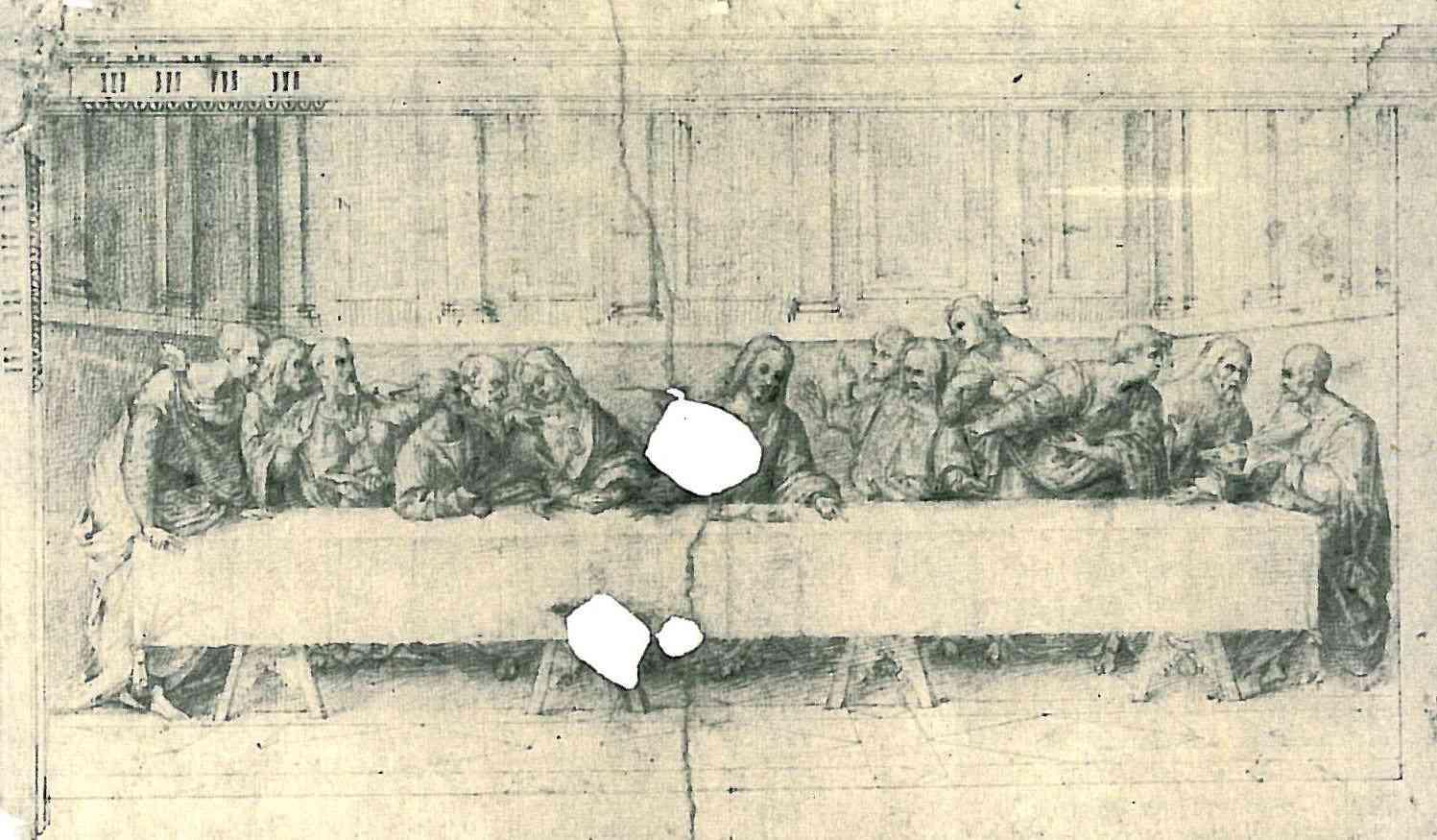 Esboço a carvão para a pintura da Última Ceia, por Leonardo